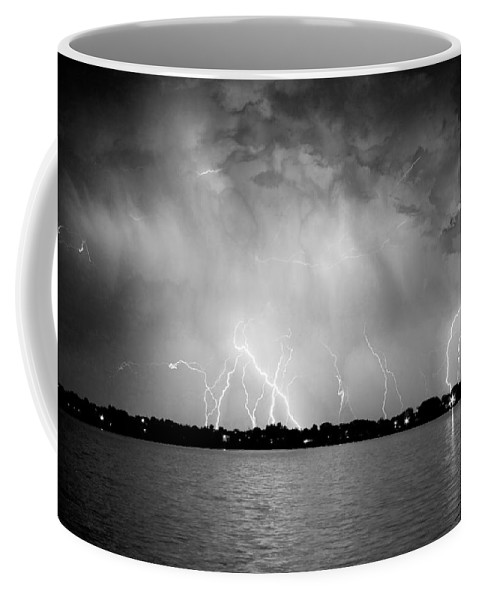 Lightning Coffee Mug featuring the photograph Lake Lightning Bw by James BO Insogna