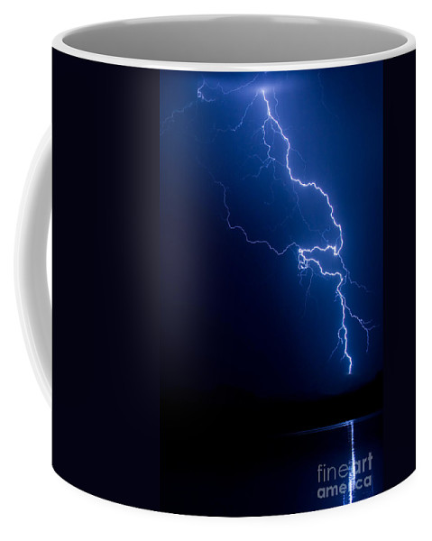 Lightning Coffee Mug featuring the photograph Lake Lightning Strike by James BO Insogna