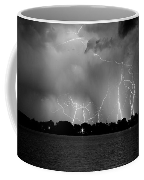 Lightning Coffee Mug featuring the photograph Lake Lightning Two Bw by James BO Insogna