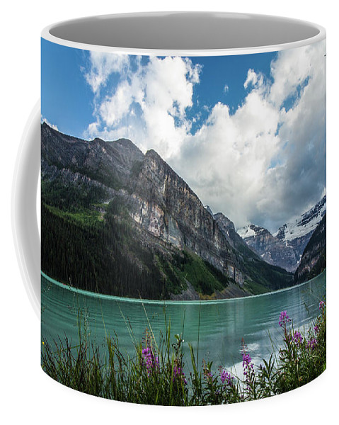 Lake Coffee Mug featuring the photograph Lake Louise Day One by Josh Smith Photography