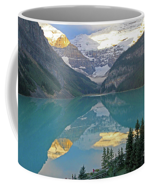 Sunrise Coffee Mug featuring the photograph Lake Louise Sunrise by Paula Guttilla