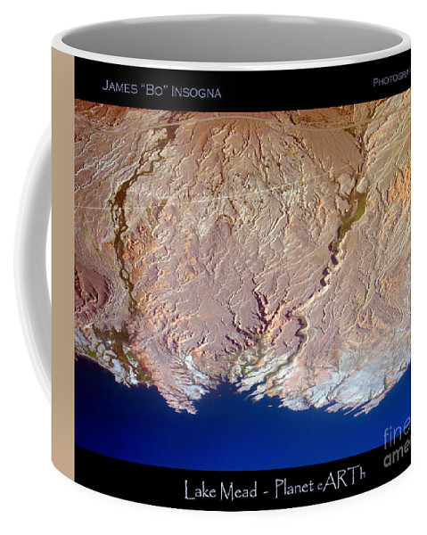 Aerial Coffee Mug featuring the photograph Lake Mead - Planet Art by James BO Insogna