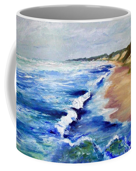 Whitecaps Coffee Mug featuring the painting Lake Michigan Beach With Whitecaps by Michelle Calkins