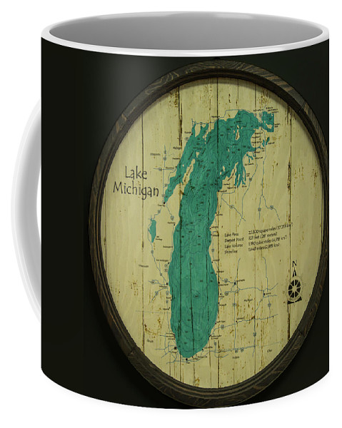 Lake Michigan Coffee Mug featuring the photograph Lake Michigan Map by Greg Thiemeyer