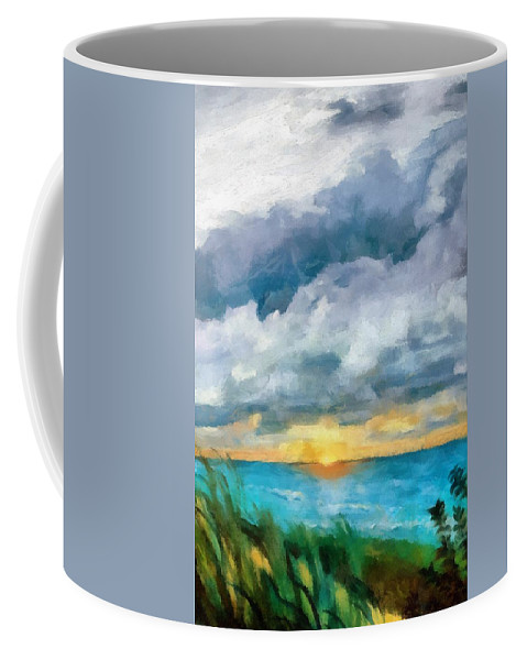 Golden Coffee Mug featuring the painting Lake Michigan Sunset by Michelle Calkins