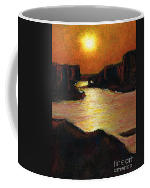Lake Powell Coffee Mug featuring the painting Lake Powell At Sunset by Frances Marino