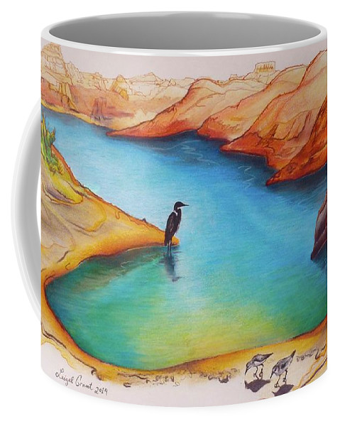Landscape Coffee Mug featuring the drawing Lake Powell Birds by Leizel Grant