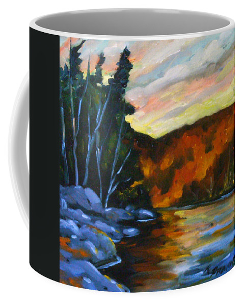 Art Coffee Mug featuring the painting Lake Reflections by Richard T Pranke