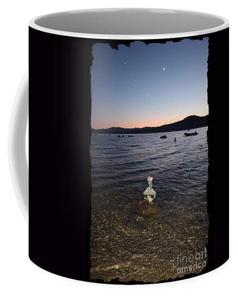 Lake Tahoe Coffee Mug featuring the photograph Lake Tahoe Sunset With Rocks And Black Framing by Carol Groenen
