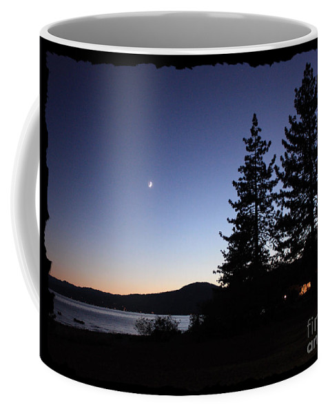 Lake Tahoe Sunset Coffee Mug featuring the photograph Lake Tahoe Sunset With Trees And Black Framing by Carol Groenen