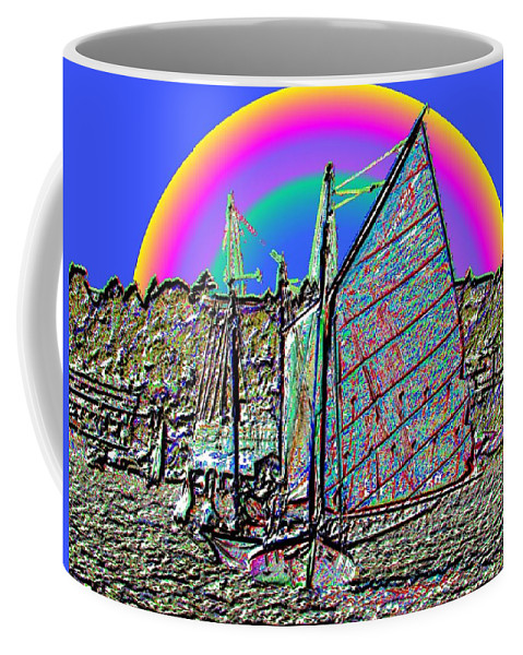 Seattle Coffee Mug featuring the photograph Lake Union Rainbow Sail by Tim Allen