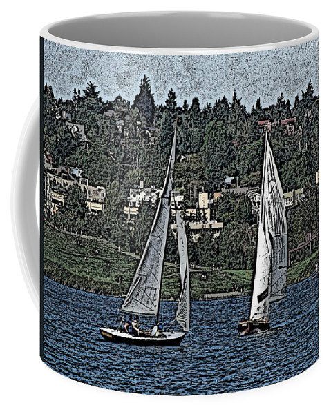 Sail Coffee Mug featuring the digital art Lake Union Regatta by Tim Allen