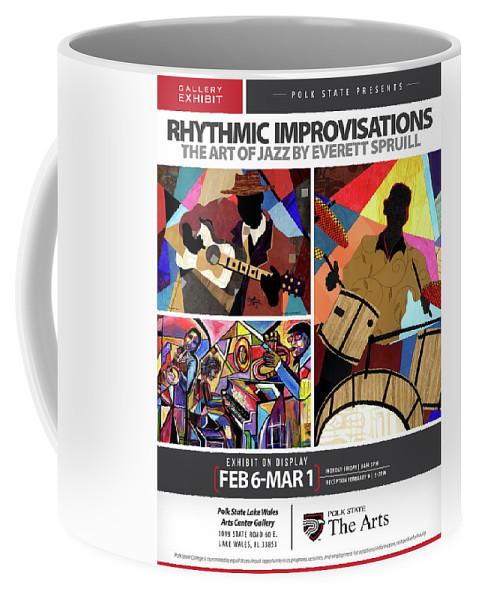 Everett Spruill Coffee Mug featuring the mixed media Rhythmic Improvisations - The Art of Jazz by Everett Spruill
