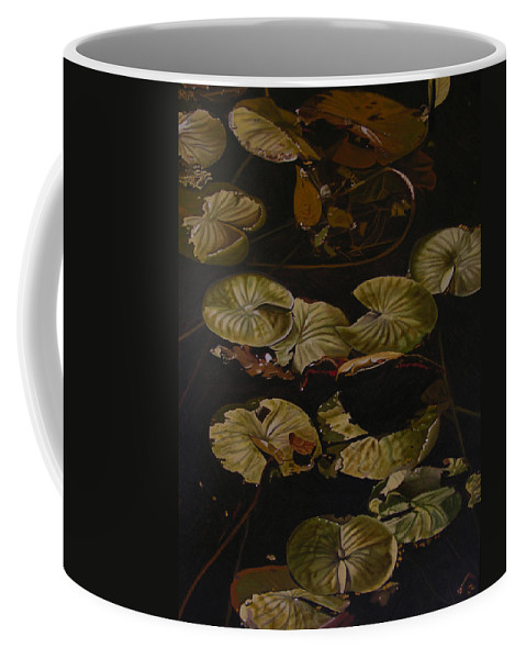 Lilypad Coffee Mug featuring the painting Lake Washington Lily Pad 9 by Thu Nguyen