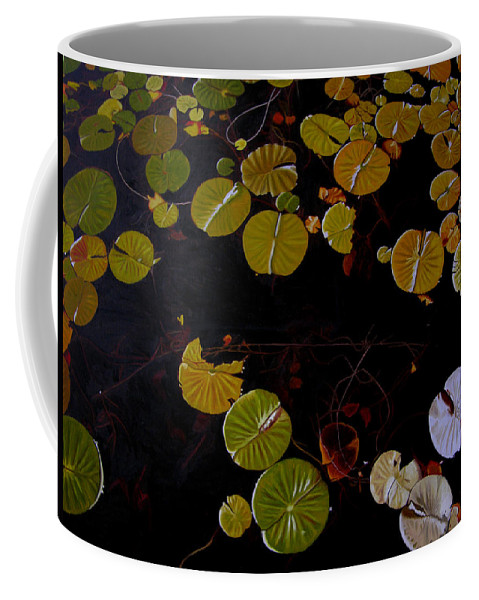 Water Coffee Mug featuring the painting Lake Washington Lilypad 8 by Thu Nguyen