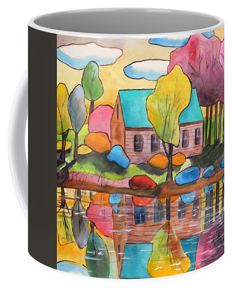 Landscape Coffee Mug featuring the painting Lakeside Dream House by John Williams