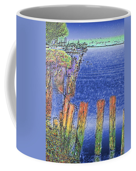 Seattle Coffee Mug featuring the photograph Lakeside Pilings by Tim Allen