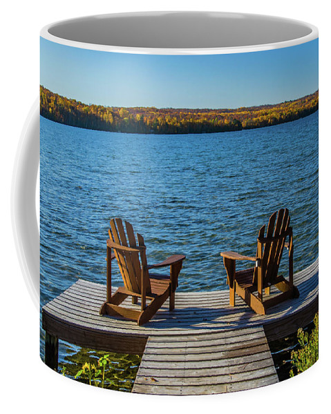 Fall Coffee Mug featuring the photograph Lakeside Seating For Two by Lowlight Images