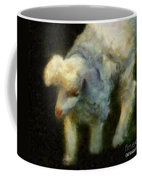 Lamb Coffee Mug featuring the painting Lambkin by RC DeWinter