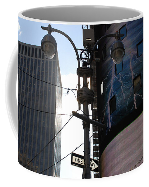Scenic Coffee Mug featuring the photograph Lampost And Lightning by Rob Hans