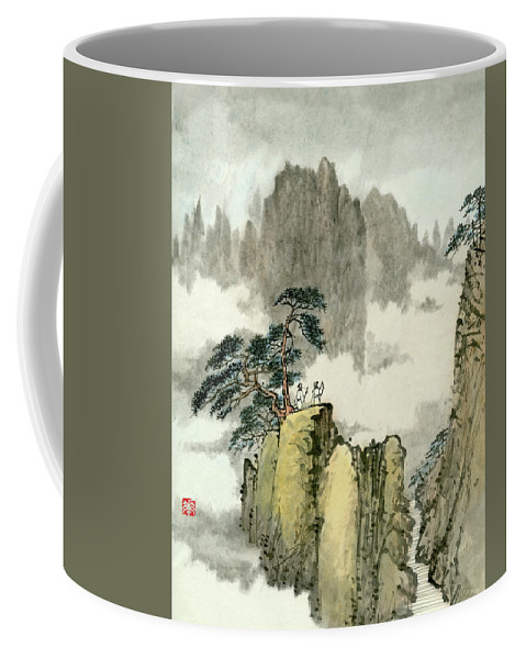 Huangshan Coffee Mug featuring the painting Landscape - 88 by River Han