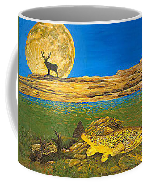 Artwork Coffee Mug featuring the painting Landscape Art Fish Art Brown Trout TIMING Bull Elk Full Moon Nature Contemporary Modern Decor by Patti Baslee