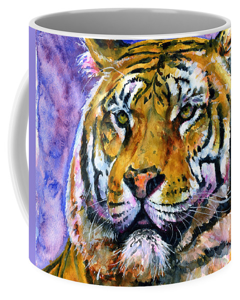 Tiger Coffee Mug featuring the painting Landscape Tiger by John D Benson