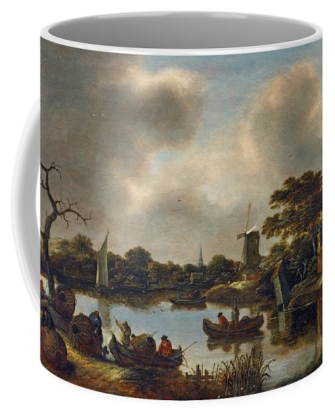 Claes Molenaer Coffee Mug featuring the digital art Landscape With Fishers by Mark Carlson