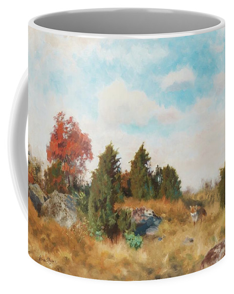 Bruno Liljefors Coffee Mug featuring the digital art Landscape With Fox by Mark Carlson