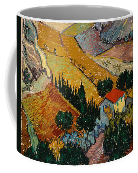 Van Gogh Coffee Mug featuring the painting Landscape With House And Ploughman by Van Gogh