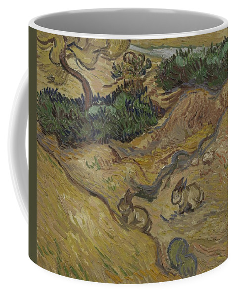 Art Coffee Mug featuring the painting Landscape With Rabbits Saint Remy De Provence December 1889 Vincent Van Gogh 1853 1890 by Artistic Panda