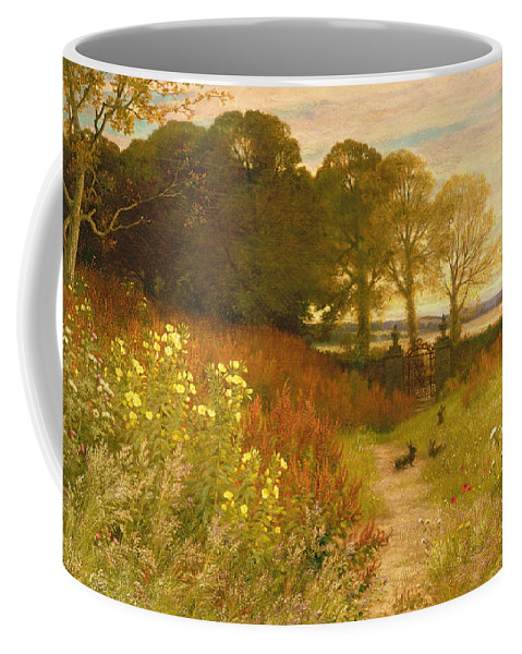 Landscape Coffee Mug featuring the painting Landscape With Wild Flowers And Rabbits by Robert Collinson