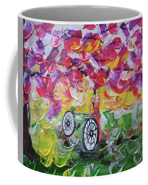 Landscape Coffee Mug featuring the painting Landscape Women Bike by Maria Rom