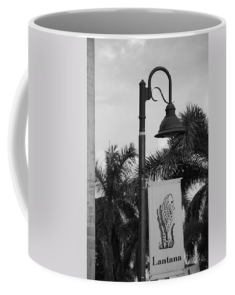 Black And White Coffee Mug featuring the photograph Lantana Lamp Post by Rob Hans