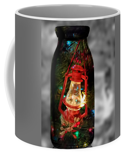 Pamela Walton Coffee Mug featuring the mixed media Lantern In Glass Jar by Pamela Walton