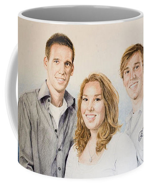 Portrait Coffee Mug featuring the drawing Lars Niels And Ilse by Rob De Vries