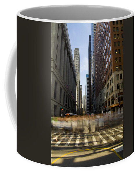 Coffee Mug featuring the photograph Lasalle Street Commuter Action by Sven Brogren
