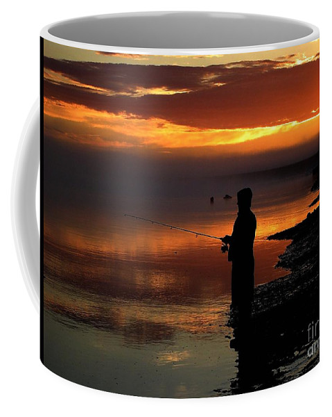 Sunset Coffee Mug featuring the photograph Last Cast by Rick Monyahan