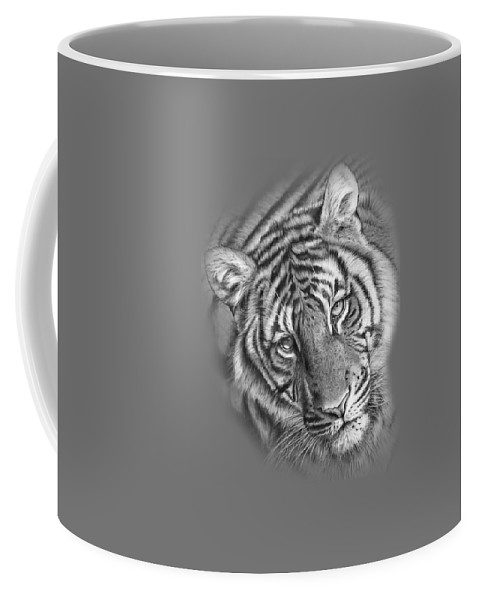 Tiger Coffee Mug featuring the drawing Last Chance To See Tee by Peter Williams