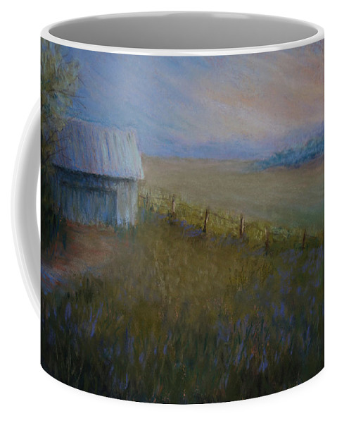 Landscape Coffee Mug featuring the pastel Last Farm Light by Susan Jenkins