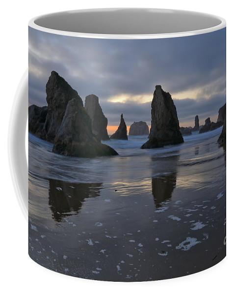 Bandon Coffee Mug featuring the photograph Last Light At Bandon Beach by Adam Jewell