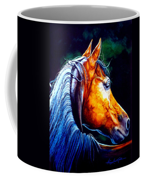 Equine Portrait Coffee Mug featuring the painting Last Light by Hanne Lore Koehler