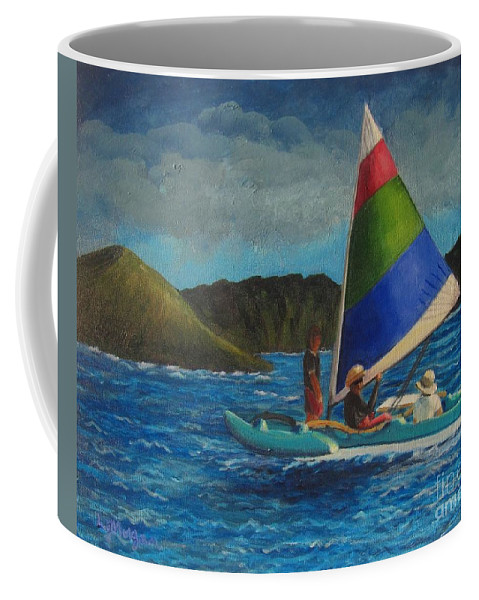 Sailboats Coffee Mug featuring the painting Last Sail Before The Storm by Laurie Morgan