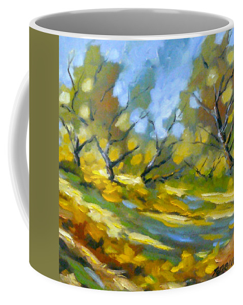 Original Painting; Oil; Landscape; Birches; Trees; Nature; Richard T Pranke; Lake Coffee Mug featuring the painting Late Afternoon by Richard T Pranke