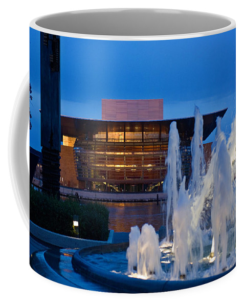 Fountain Coffee Mug featuring the photograph Late Evening Vista Of The Danish Opera by Keenpress