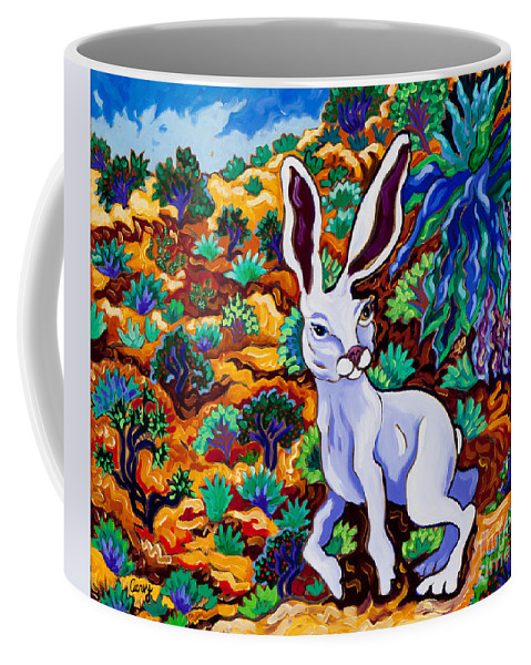 Rabbit Coffee Mug featuring the painting Late For A Very Important Date by Cathy Carey