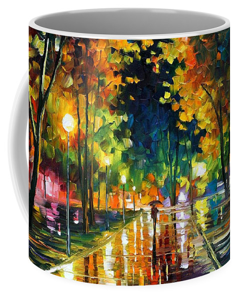 Art Gallery Coffee Mug featuring the painting Late Night - Palette Knife Oil Painting On Canvas By Leonid Afremov by Leonid Afremov