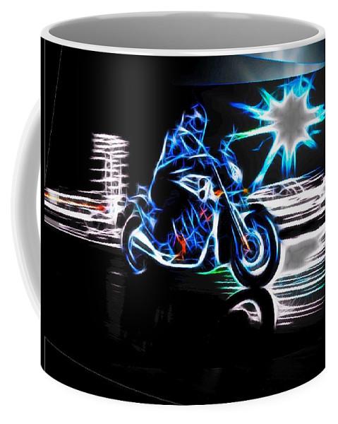 Late Night Coffee Mug featuring the digital art Late Night Street Racing by Maciek Froncisz