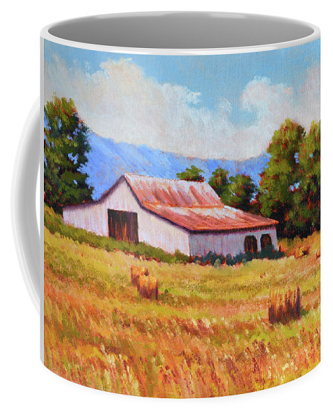 Impressionism Coffee Mug featuring the painting Late Summer Hay by Keith Burgess