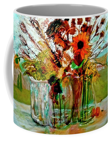 Flowers Jar Glass Thistle Picnic Green Lemon Rose Coffee Mug featuring the painting Late Summer by Jack Diamond